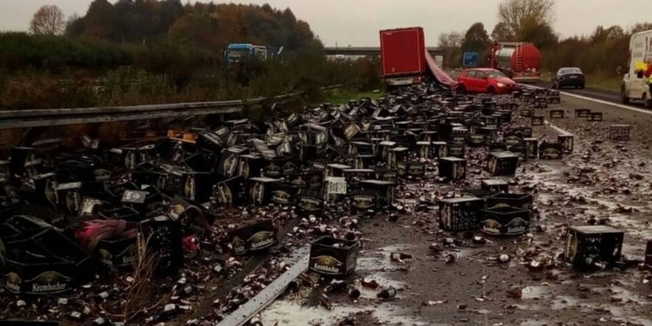 Une autoroute allemande bloquée par... 30.000 bouteilles de bière