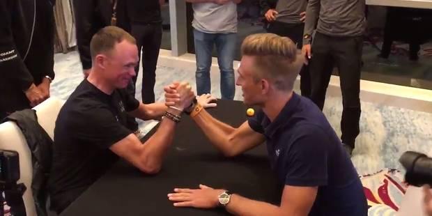 Chris Froome et Marcel Kittel se livrent un duel au bras de fer (VIDEO) - La DH