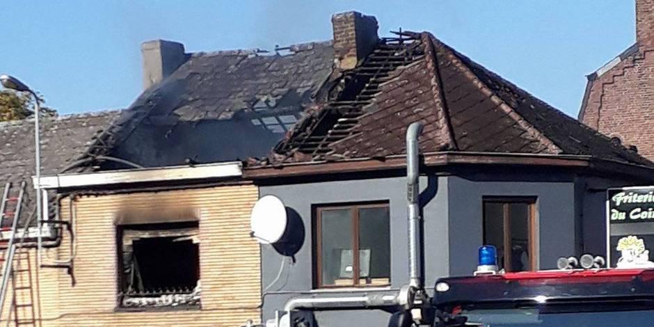 Hornu: une maison en feu à la rue Grande