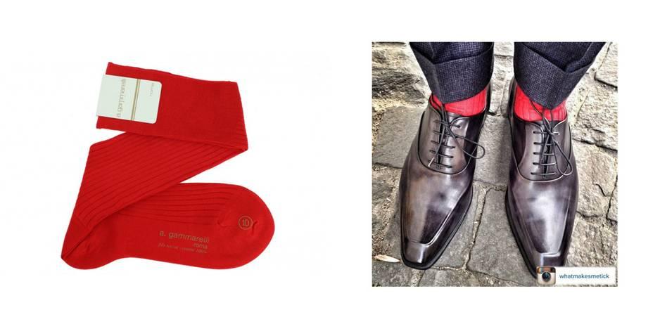 La chaussettes est un accessoire de la panoplie masculine souvent sous-estimé. À tort. Prenez ces chaussettes rouges en fil d'écosse par exemple. Elles pourront tout simpliment sublimer vos tenues. Et puis le rouge, ce n'est pas que pour les fêtes de Noël.  Chaussettes Gammarelli. Mes Chaussettes Rouges. 20 euros.
