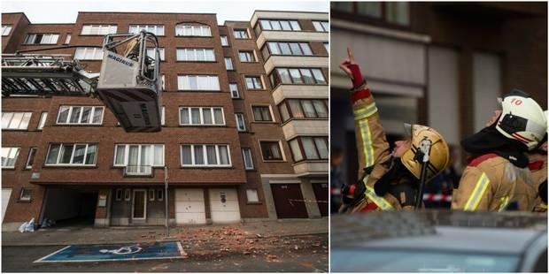 Etterbeek: une partie de façade d'habitation s'effondre (PHOTOS et VIDEO) - La DH