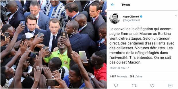 """""""Le convoi de la délégation de Macron attaqué, on ne sait pas où est le président"""": Hugo Clément affole Twitter - La DH"""