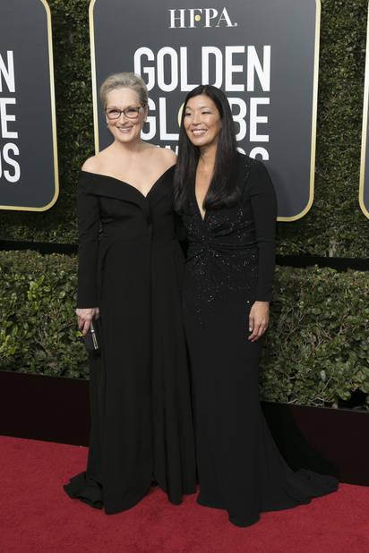 Meryl Streep en compagnie de Ai-jen Poo, de l'alliance nationale des travailleurs domestiques.