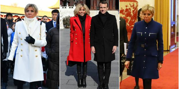 Brigitte Macron en Chine mise encore sur le bleu-blanc-rouge - La DH
