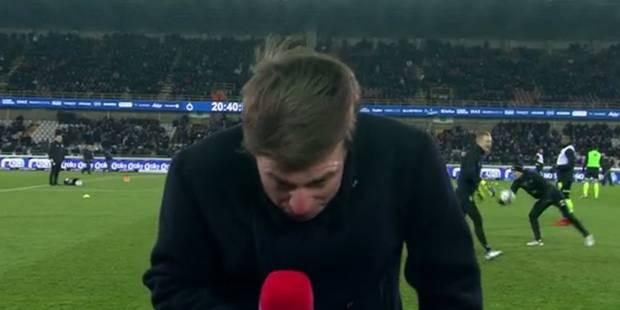Quand un journaliste de RTL se prend un ballon sur la tête avant le match Bruges-Standard (VIDEO) - La DH