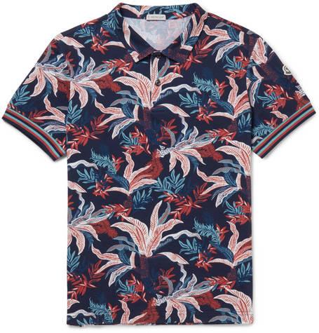Moncler, Printed Cotton-Piqué Polo Shirt,      375 euros.