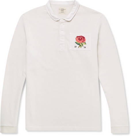 Kent & Curwen, Appliquéd Loopback Cotton-Jersey Polo Shirt,     120 euros.