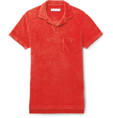 Orlebar Brown, Cotton-Terry Polo Shirt,     115 euros.