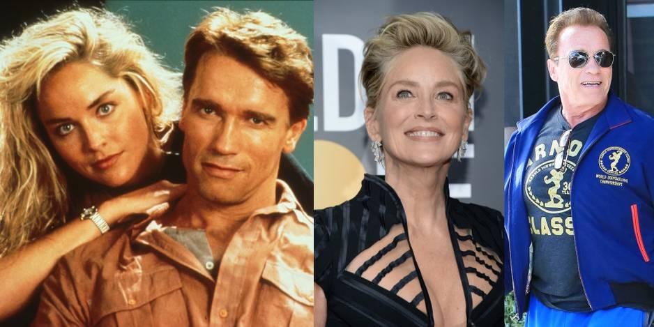 En 1990, Sharon Stone et Arnold Schwarzenegger dans le film Total Recall.
