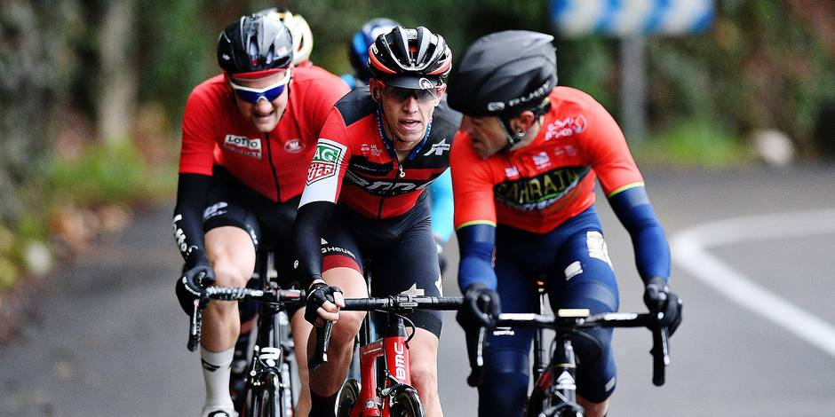 Belgian Tim Wellens of Lotto Soudal, Belgian Dylan Teuns of BMC Racing Team and Spanish Jon Ion Izaguirre Insausti of Bahrain-Merida pictured in action during the last stage of the 76th edition of Paris-Nice cycling race, 110km from Nice to Nice, France, Sunday 11 March 2018. The race starts on the 4th and ends on the 11th of March. BELGA PHOTO DAVID STOCKMAN