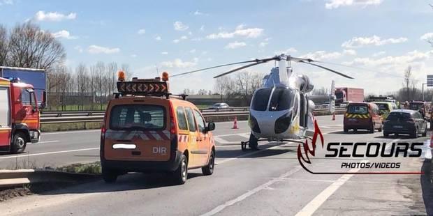 Grave accident sur l'autoroute Mons-Valenciennes : un blessé transporté en hélicoptère - La DH
