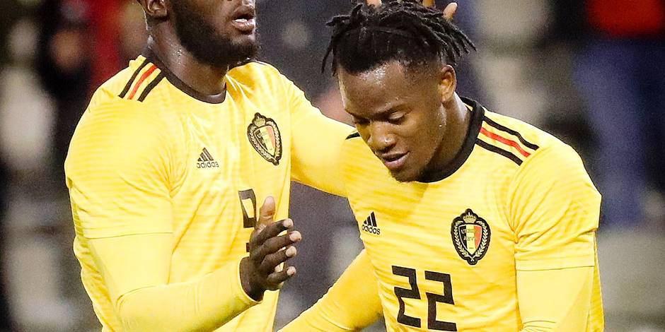 Belgium's Romelu Lukaku and Belgium's Michy Batshuayi celebrate after scoring during a friendly game between the Red Devils Belgian National soccer team and Saudi Arabia, in Brussels, Tuesday 27 March 2018. BELGA PHOTO VIRGINIE LEFOUR
