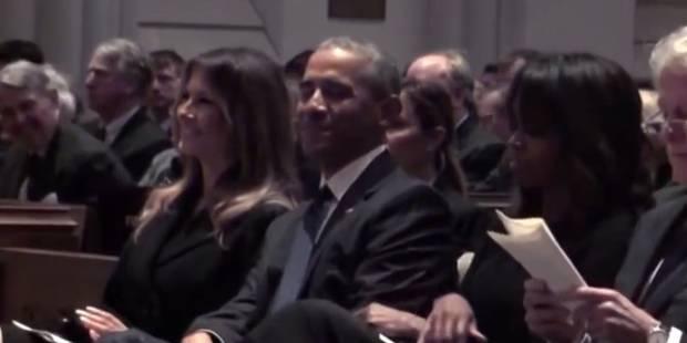 Barack Obama fait sourire Melania Trump aux obsèques de Barbara Bush - La DH